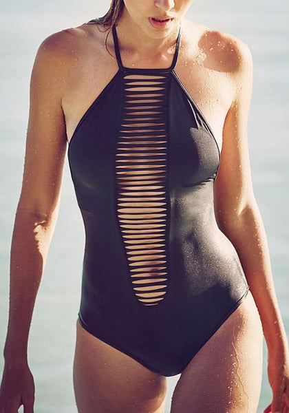 Black Plain Cut Out Tie Back U-neck Fashion Swimwear
