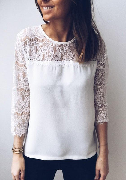 White Patchwork Lace Cut Out Buttons Round Neck Long Sleeve Fashion T-Shirt