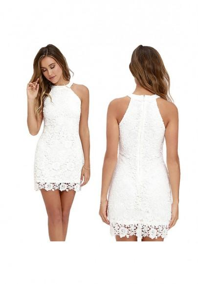 Casual New Women White Patchwork Lace Zipper Round Neck Mini Dress