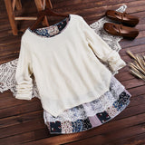 ByChicStyle Casual Sweet Lady Floral Lace Stitching Knit Blouse