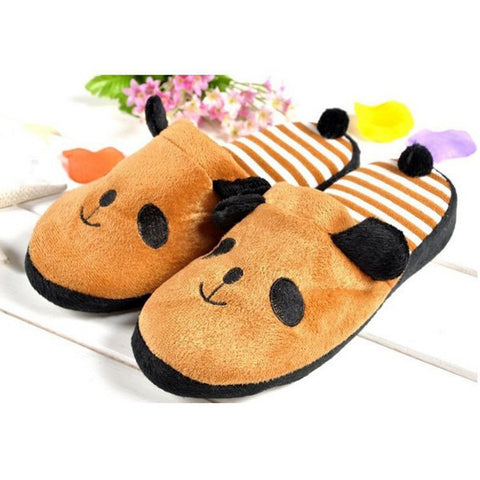 Casual Cute Anti Slip Panda With Tail Home Slippers Keep Warm Shoes