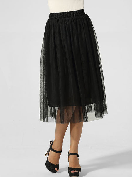 Hollow Out Plain Pleated Mid-rise Waist Maxi Skirt - Bychicstyle.com