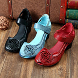 ByChicStyle Casual Rose Leaf Block Hook Loop Vintage Shoes