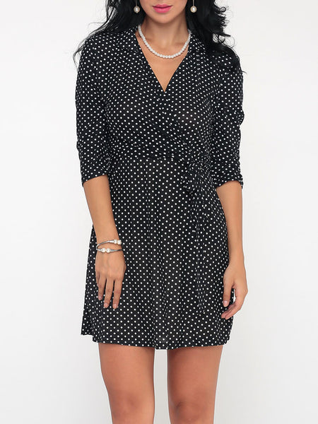 Casual Polka Dot Captivating V Neck Shift-dress