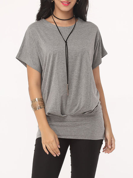 Casual Plain Batwing Exquisite Round Neck T-shirt