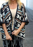 ByChicStyle Black Geometric Print Tassel Fashion Cardigan Coat