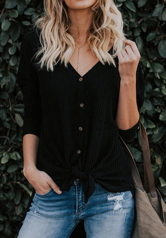 Black Buttons Knot V-neck Going out Casual Blouse