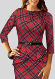 ByChicStyle Red Plaid Belt Peplum Formal Bodycon 3/4 Sleeve Elegant Midi Dress