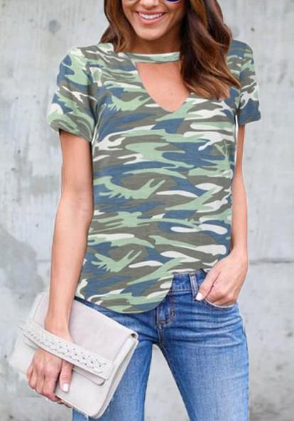 Army Green Camo Print Cut Out V-neck Casual T-Shirt