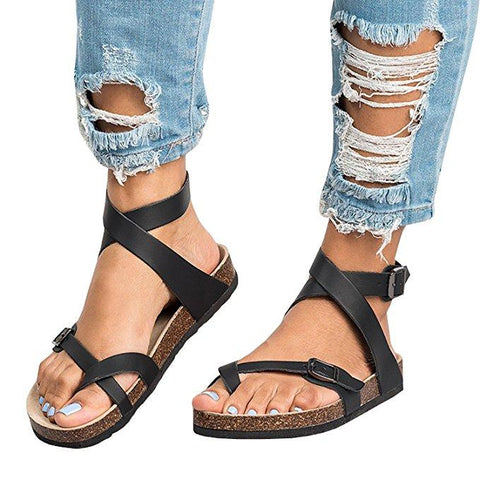 Women's Sandals - Casual Summer Beach Gladiator Buckle Strap Sandals