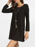 ByChicStyle Casual Pockets Round Neck Back Hole Plain Shift-dress