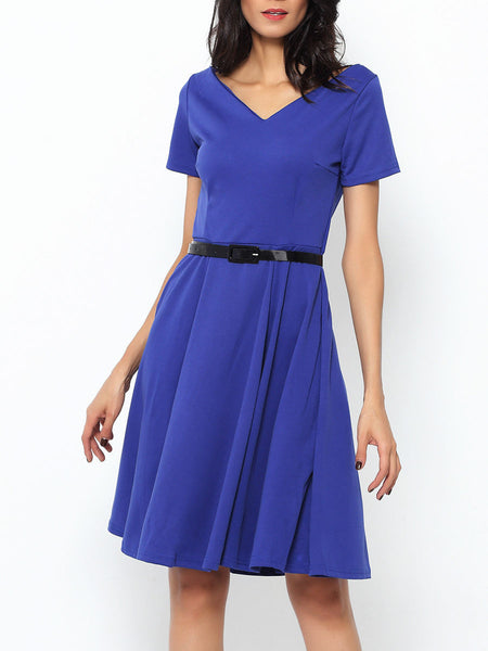 Enticing& Vintage V Neck Plain Skater Dress - Bychicstyle.com