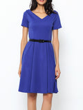 ByChicStyle Enticing& Vintage V Neck Plain Skater Dress - Bychicstyle.com