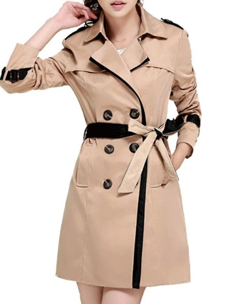 Chic Lapel Breasted With Pockets Trench-Coat - Bychicstyle.com