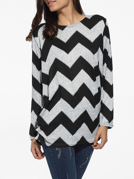 Loose Fitting Zigzag Striped Long Sleeve T-shirt - Bychicstyle.com