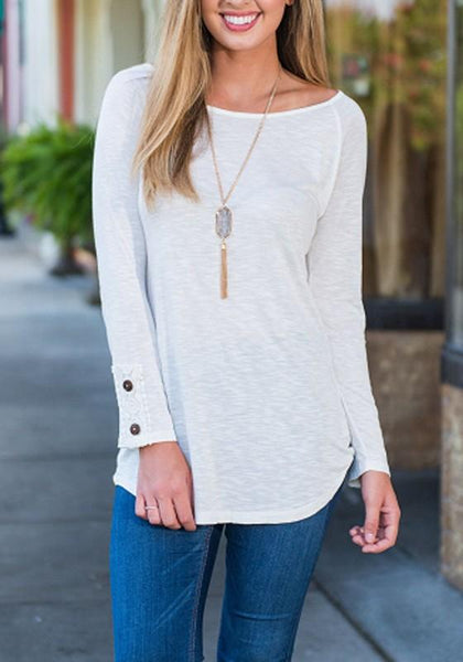 White Buttons Round Neck Long Sleeve Fashion T-Shirt