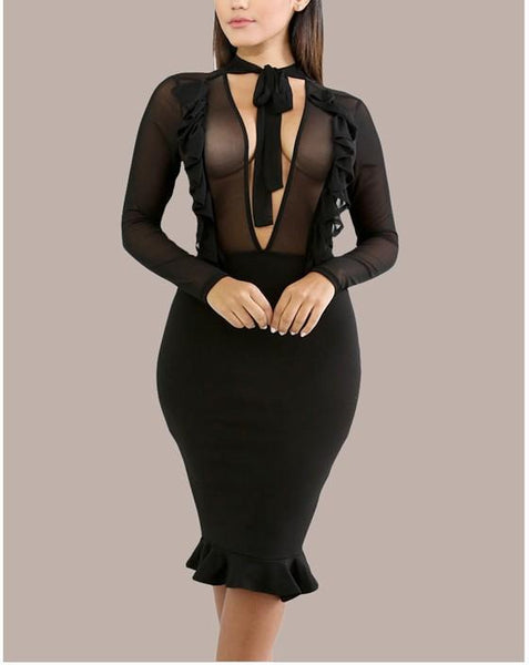 Black Patchwork Mesh Grenadine Ribbons Lace-up Mermaid Deep V-neck Party Midi Dress