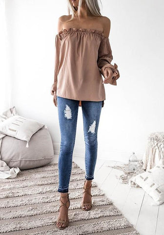 Apricot Irregular Boat Neck Long Sleeve Fashion Dacron Blouse