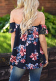 ByChicStyle Dark Blue Floral Draped Bandeau Off-shoulder Short Sleeve Fashion Blouse