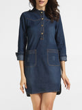 ByChicStyle Casual Pockets Band Collar Denim Shift-dress
