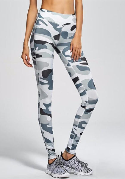 Grey Camouflage Yoga Sports Workout Party Legging Long Pants