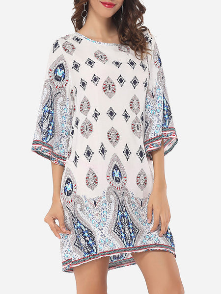 Tribal Printed Loose Fitting Round Neck Shift-dress - Bychicstyle.com