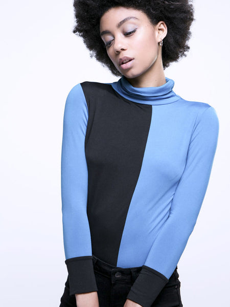High Neck Color Block Long Sleeve T-Shirt - Bychicstyle.com