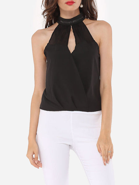 Hollow Out Patchwork Plain Designed Band Collar Blouse - Bychicstyle.com
