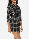 ByChicStyle Casual Plaid Single Breasted Designed Polo Collar Blouse