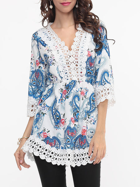 Hollow Out Patchwork Printed Designed V Neck Blouse - Bychicstyle.com