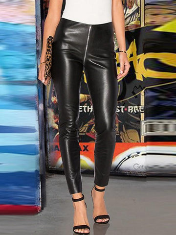 New Black Zipper Pockets High Waisted Fashion Long Leggings