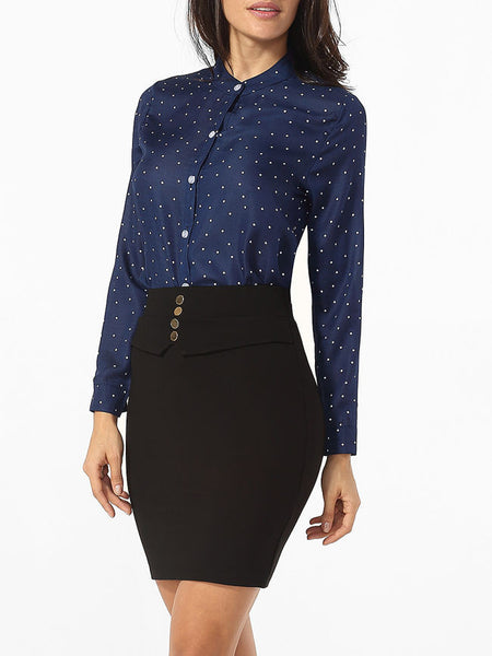 Casual Band Collar Single Breasted Polka Dot Blouse