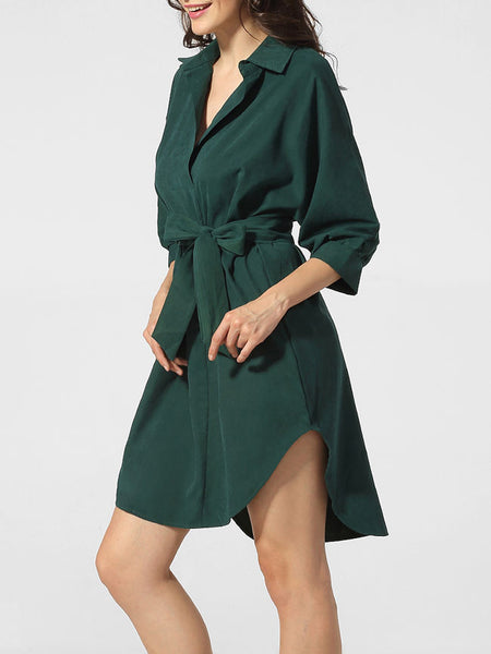 Casual Turn Down Collar Bowknot Asymmetrical Hem Plain Shift Dress