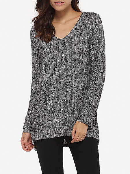 Loose Fitting V Neck Knit Plain Sweater - Bychicstyle.com