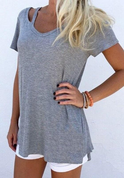 Grey Cut Out Short Sleeve V-neck Casual Overszie T-Shirt