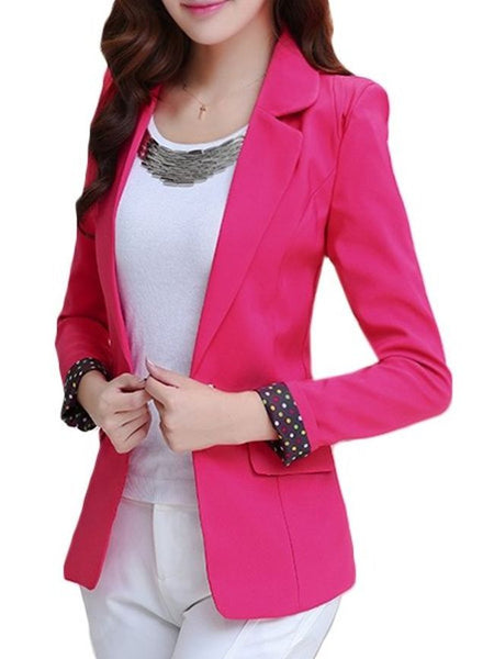 Casual Plain Courtlike Lapel Blazers