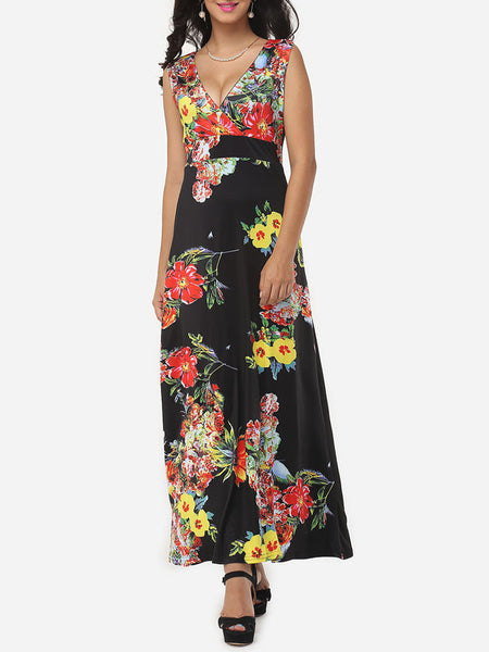 Floral Printed Vintage Deep V Neck Maxi-dress - Bychicstyle.com