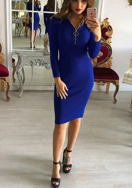 Blue Plain Zipper V-neck Fashion Midi Dress