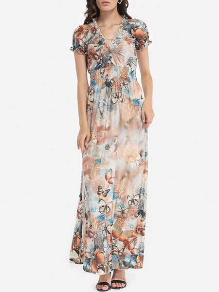 Printed Fabulous V Neck Maxi-dress - Bychicstyle.com
