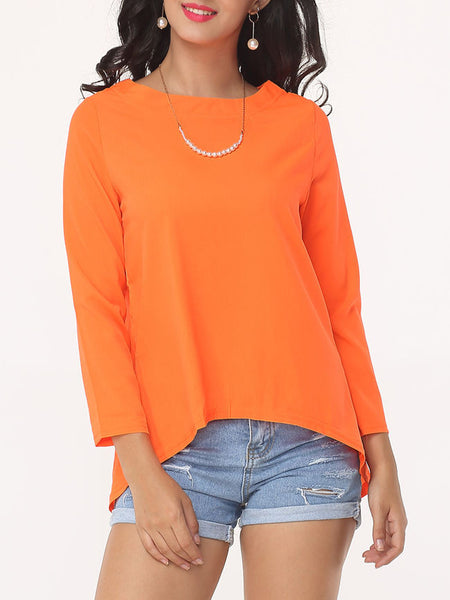 Plain Split Charming Boat Neck Long-sleeve-t-shirt - Bychicstyle.com
