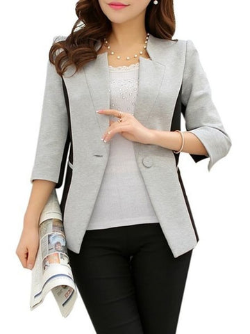 Casual Assorted Colors With Pockets Trendy Asymmetric Neckline Blazers