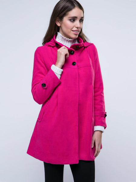 Hooded Double Breasted Vented Plain Coat - Bychicstyle.com