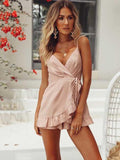 ByChicStyle Backless Falbala Condole Belt Romper