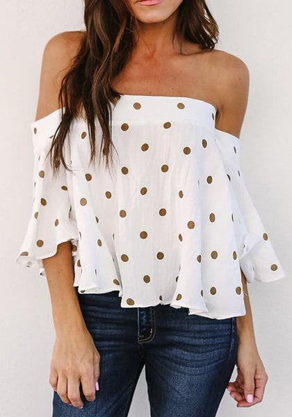 White Polka Dot Pleated Off Shoulder Backless Sweet Going out Blouse