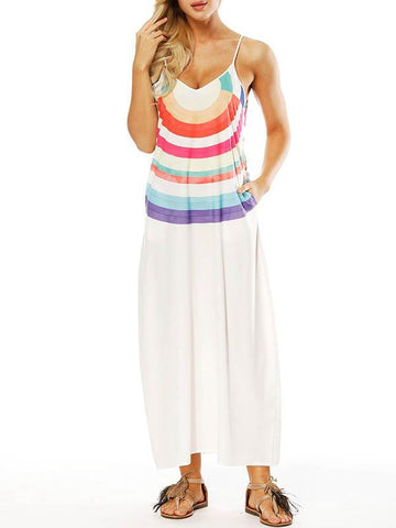 Striped Printed Slim Fit V-neck Pockets Maxi Dress