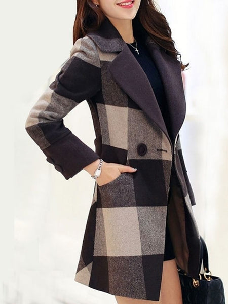 Stunning Lapel Breasted Patchwork Plaid Coat - Bychicstyle.com