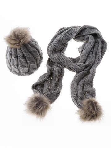 Streetstyle  Casual Winter Warm Knit Scarf And Hat