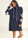 ByChicStyle Casual Drawstring Printed Side Slit Hoody