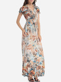 ByChicStyle Printed Fabulous V Neck Maxi-dress - Bychicstyle.com