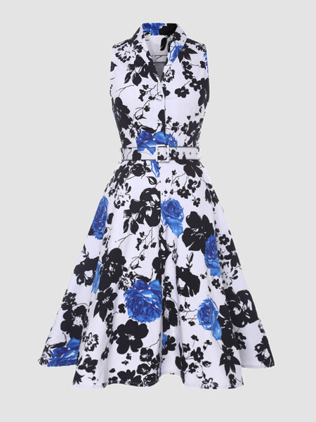 Shawl Collar Floral Printed Skater Dress - Bychicstyle.com